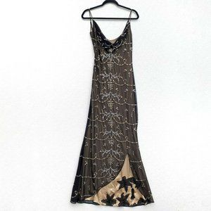 Badgley Mischka Size 2/4 Dress Jeweled Gown Cowl